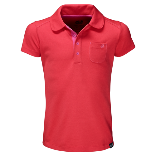 Jack Wolfskin Pique Polo T-Shirt Girls  - hibiscus red