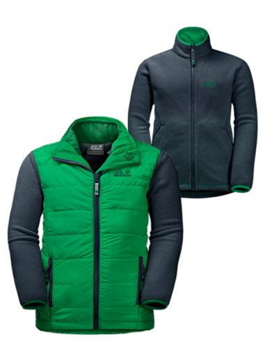 Jack Wolfskin Glen Dale Kids 3in1 Kombi aus Fleecejacke und Steppweste - evergreen
