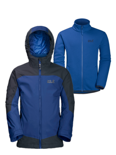 Jack Wolfskin Boys AKKA 3in1 Doppeljacke - royal blue