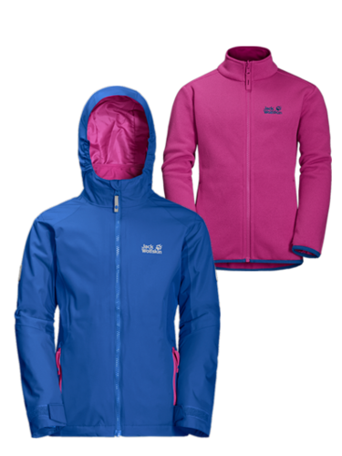 Jack Wolfskin Girls GRIVLA 3in1 Doppeljacke - coastal blue