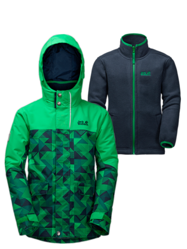 Jack Wolfskin B Twin Falls 3in1 Jungen Doppeljacke - evergreen allover